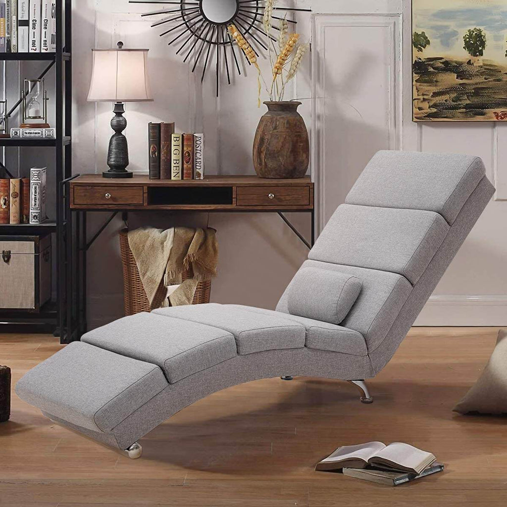 Massage Chaise Lounge Chair, Indoor Chaise Chair for Bedroom, Living Room with Vibration Heat Fuction, Gray