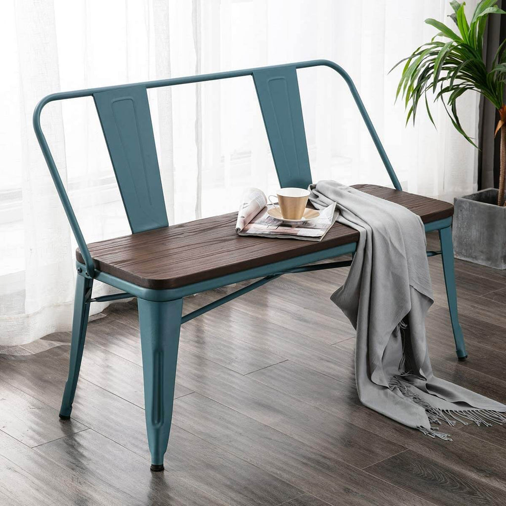 Metal Bench Industrial Mid-Century 2 Person Chair with Wood Seat, Dining Bench with Floor Protector, Blue