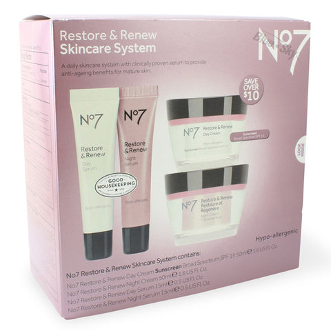 Boots No. 7 Restore and Renew 4 Piece Skincare System
