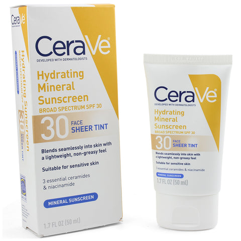 CeraVe 50mL Hydrating Sheer Tint Mineral Sunscreen SPF 30