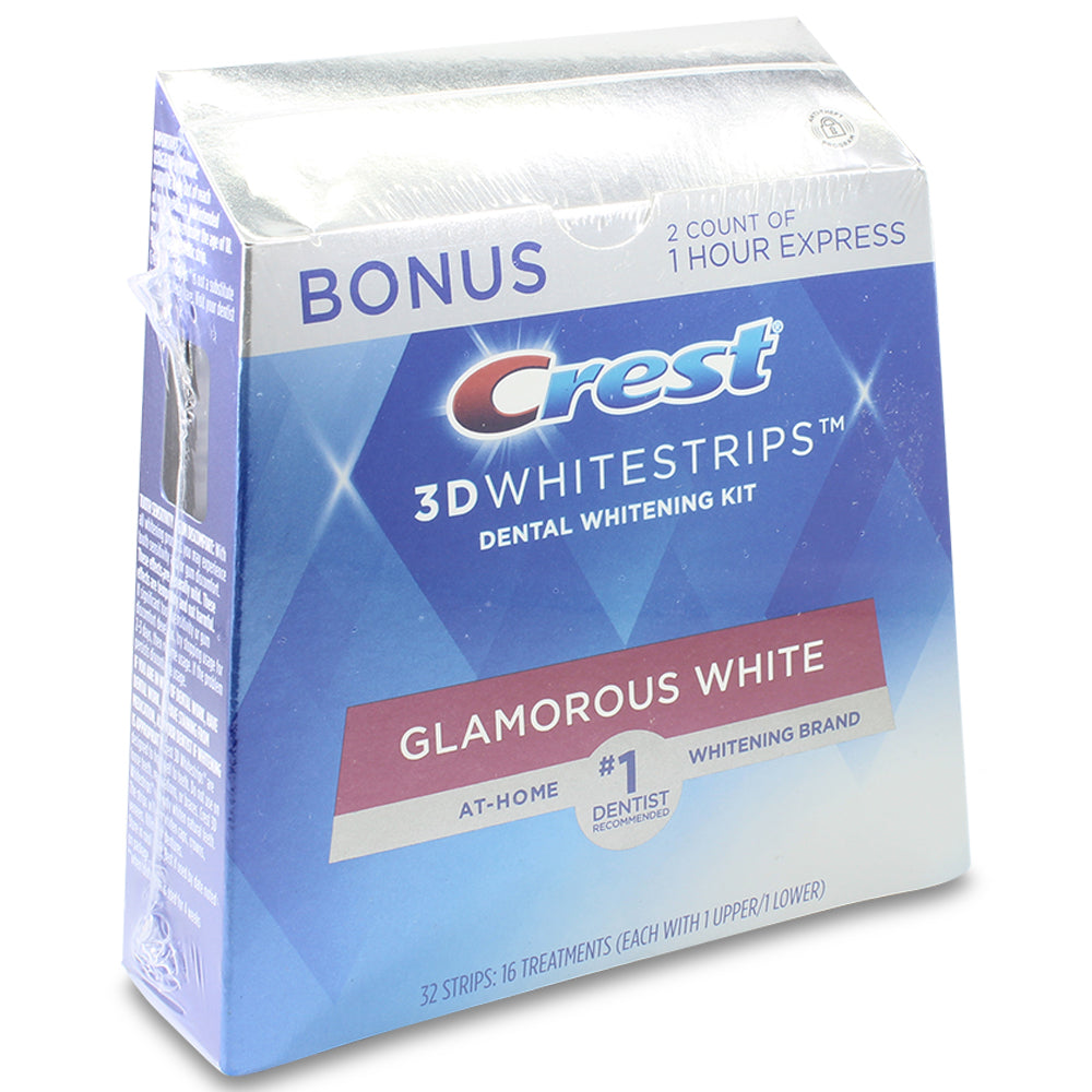 Crest 3D White 16 x Glamorous Teeth Whitening Strips with Bonus 1 Hour Strips