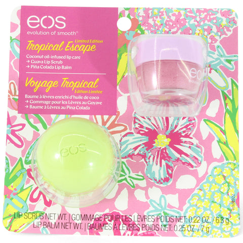 eos 2-Pack Tropical Escape Pina Colada Lip Balm and Guava Lip Scrub