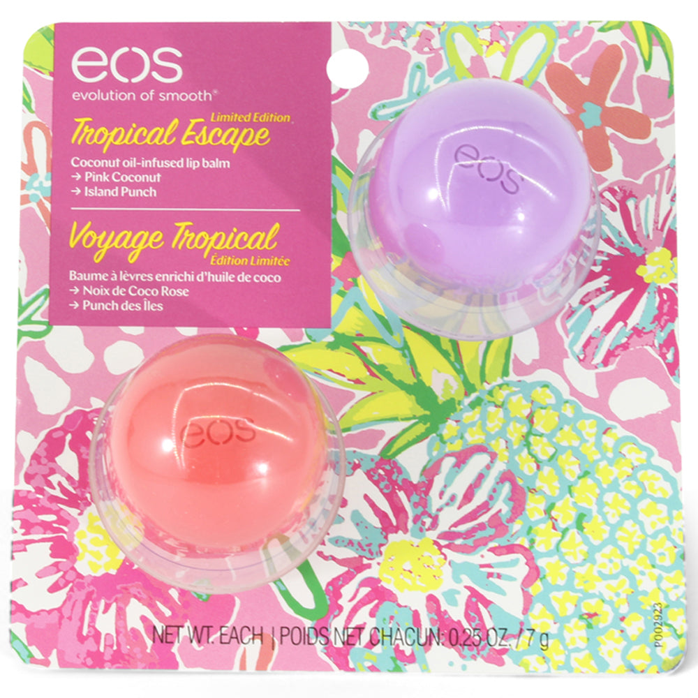 eos 2-Pack Lip Balm Tropical Escape Pink Coconut and Island Peach
