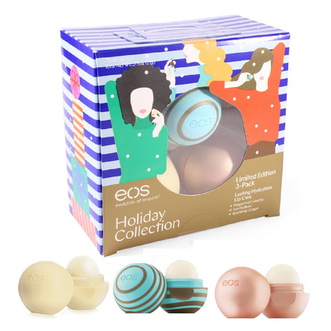 Eos 3 Pack Holiday Collection Peppermint, Vanilla & Ginger Lip Balm Set