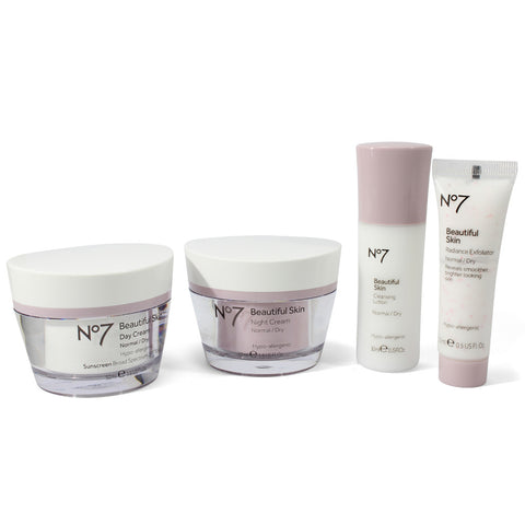 Boots No. 7 Beautiful Skin 4 Piece Skincare Kit System Normal to Dry