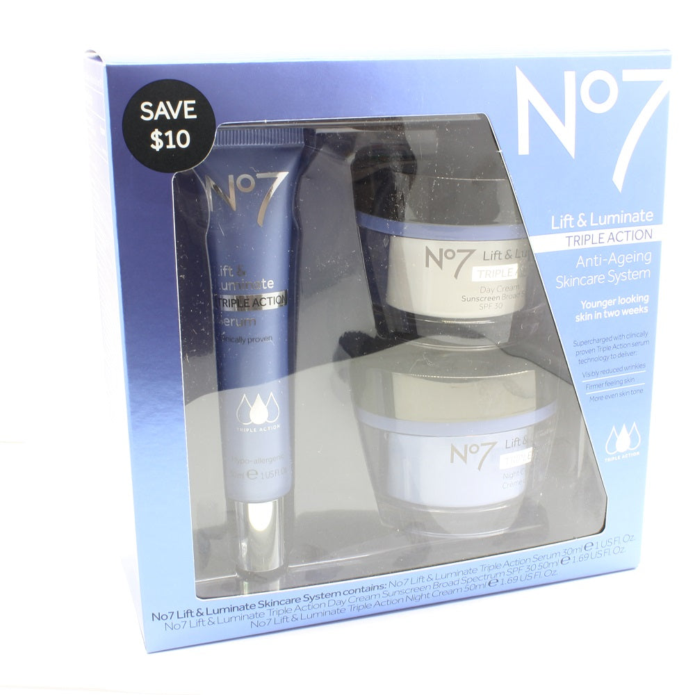 Boots No. 7 Lift and Luminate Triple Action 3 Piece Skincare Kit