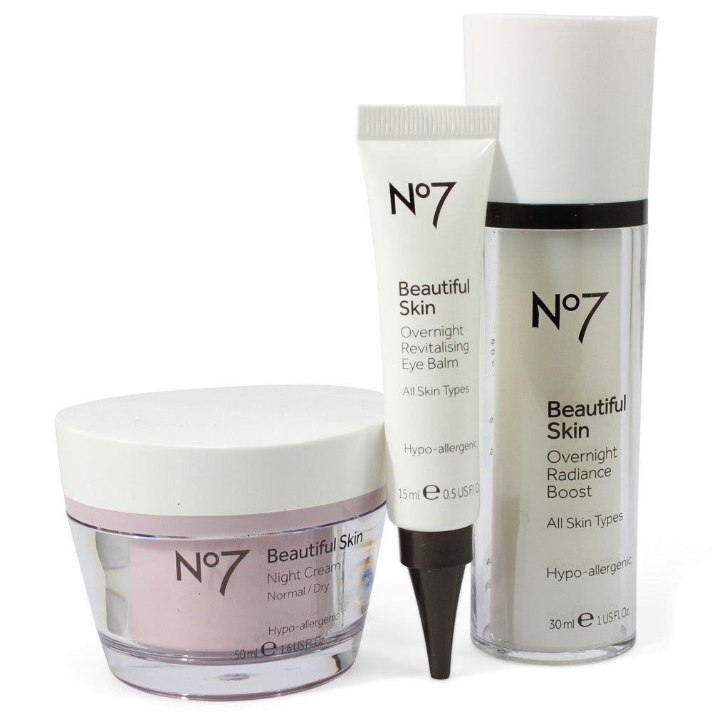 Boots No. 7 Beautiful Skin 3 Piece Overnight Bright Skincare Kit Normal to Dry