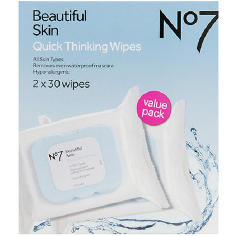 Boots No 7 60 x Beautiful Skin Quick Thinking Wipes Value Pack
