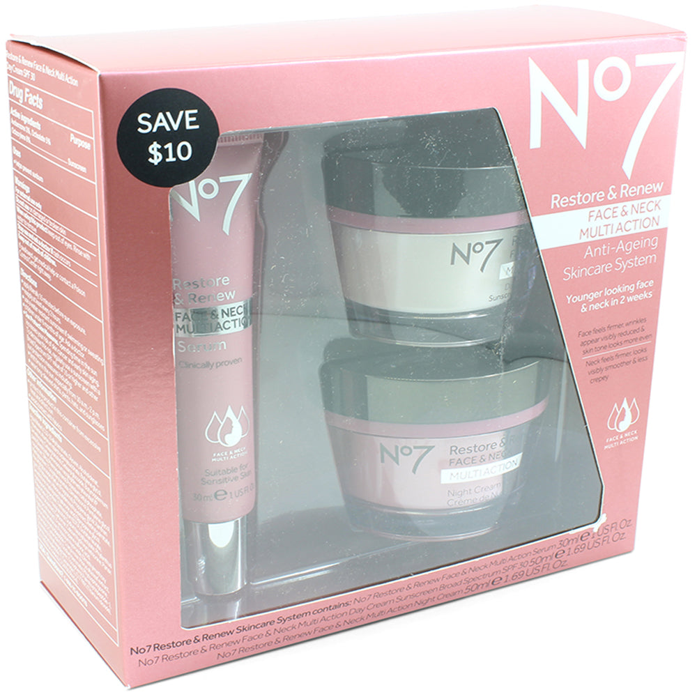 Boots No. 7 Restore and Renew Face & Neck Multi-Action 3 Piece Skincare Kit