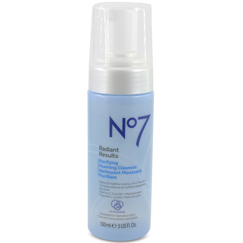 Boots No. 7 150mL Radiant Results Purifying Foaming Cleanser For Sensitive Skin