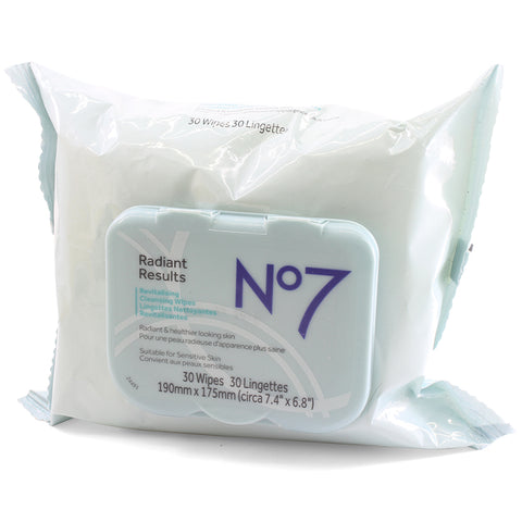 Boots No 7 30 x Radiant Results Revitalising Cleansing Wipes