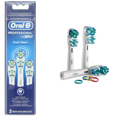 Oral B Braun 3-Pack Dual Clean Replacement Tooth Brush Head EB417-3