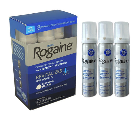 Rogaine (Regaine) 3 Month Foam 5% Minoxidil Foam Men's Hair Loss Treatment