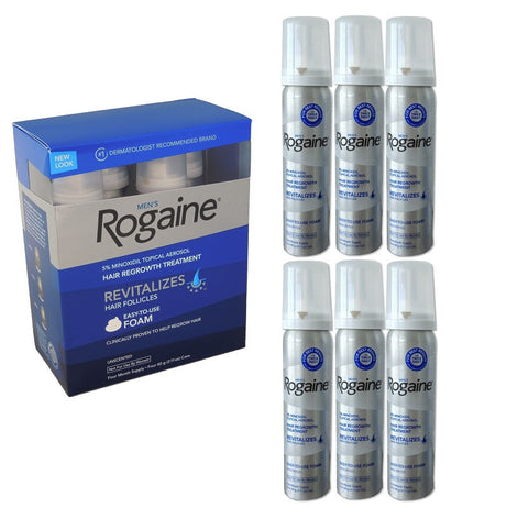 Rogaine (Regaine) 6 Month Foam 5% Minoxidil Men's Hair Loss Treatment