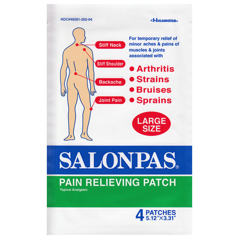 Salonpas 4 x Large Patch for Aches and Pains 8.4 x 13 cm