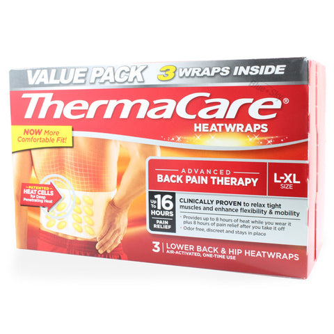 ThermaCare 3 x Air Activated Lower Back & Hip Heatwraps L-XL