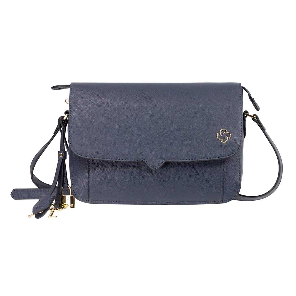 Cartera Miss Chic Shoulder Bag W / Flap Mezclilla Gris