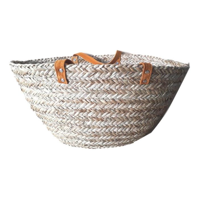 LARGE FLAT SEAGRASS BASKET WITH SHORT LEATHER HANDLES