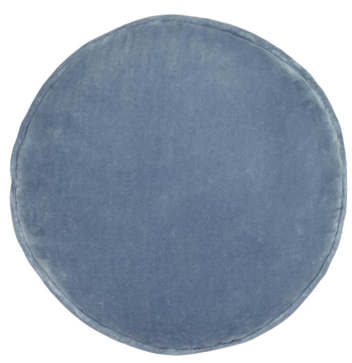 Dusty Blue Velvet Round Cushion | Castle and Things