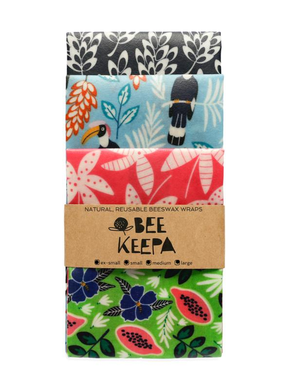 Beeswax Wrap 4 Pack - Tropical lush pink and green