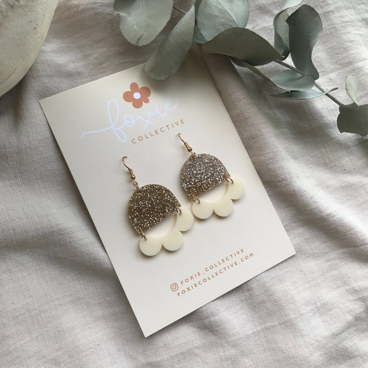 Marlie Earrings| Gold Glitter + Cream