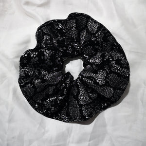 Silver and Black Scrunchie