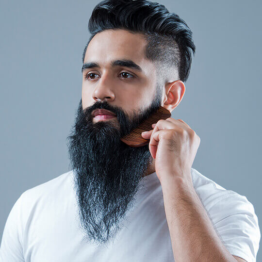 Use a comb of brush to groom you beard