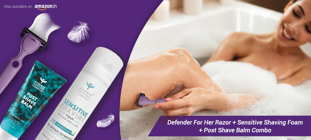 Defender for Her : Razor For Women + Sensitive Shaving Foam + Post Shave Balm Combo is also available on Amazon