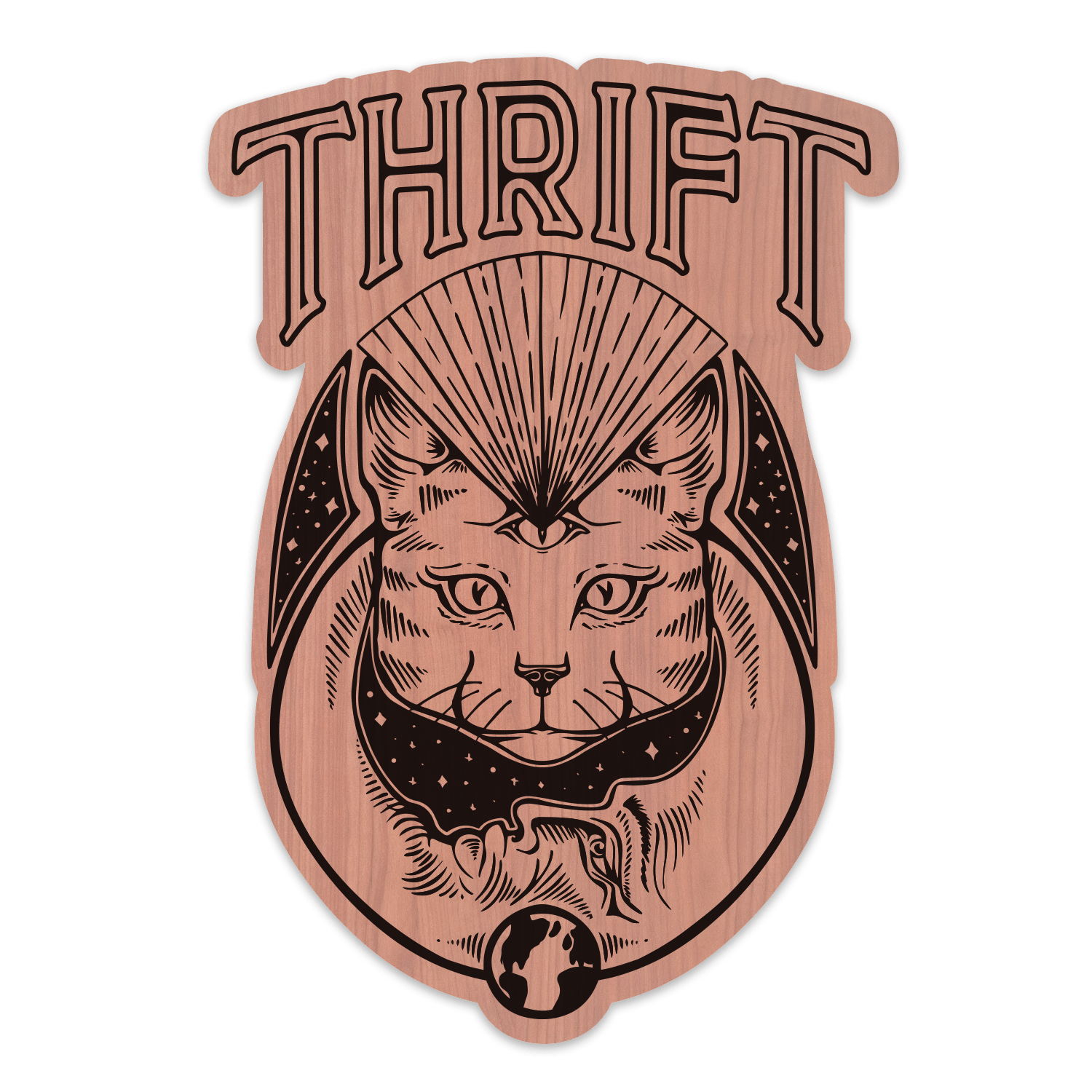 Thrift Cat Wood Sticker