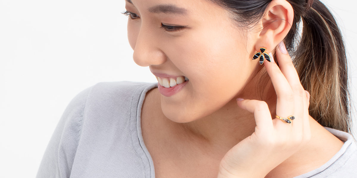 Banded Agate Stud Earrings Floral Escape