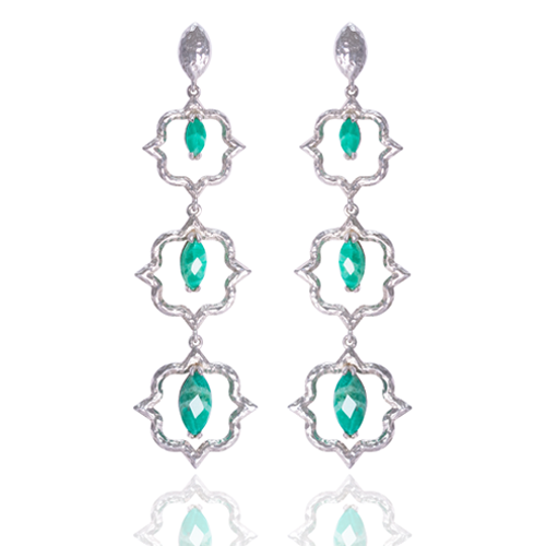 India Affair Amazonite Cocktail Earrings Silver