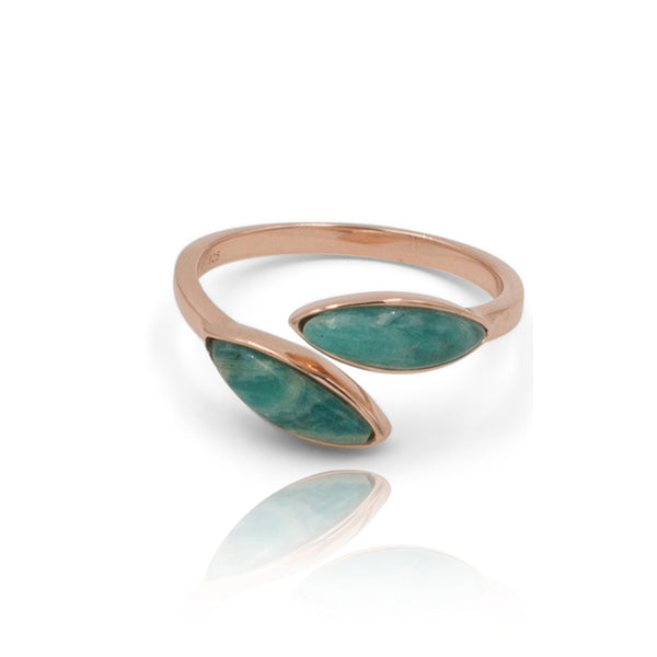 Floral Escape Amazonite Midi Wrap Ring Rose Gold