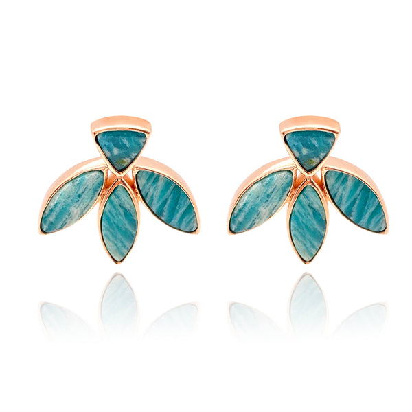 Floral Escape Amazonite Stud Earrings - Rose Gold