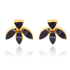 Floral Escape Black Banded Agate Stud Earrings - Gold