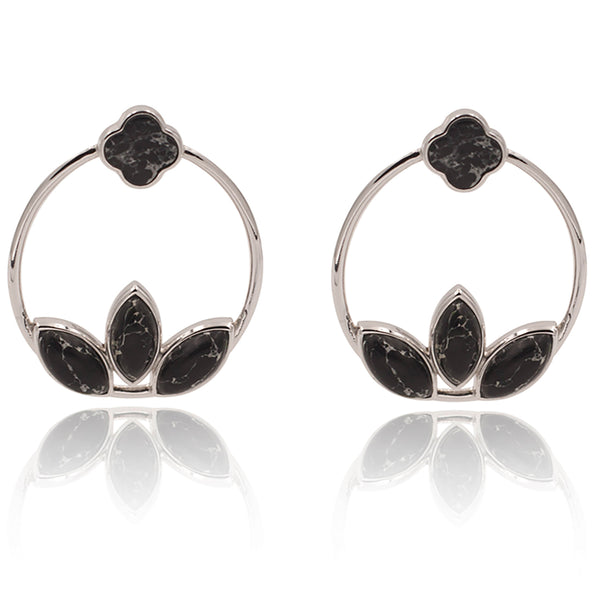 Floral Escape Black Marble Hoop Earrings