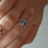 Floral Escape Blue Magnesite Double Band Midi Ring - SOLD OUT