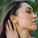 India Affair Moonstone Cocktail Earrings Gold