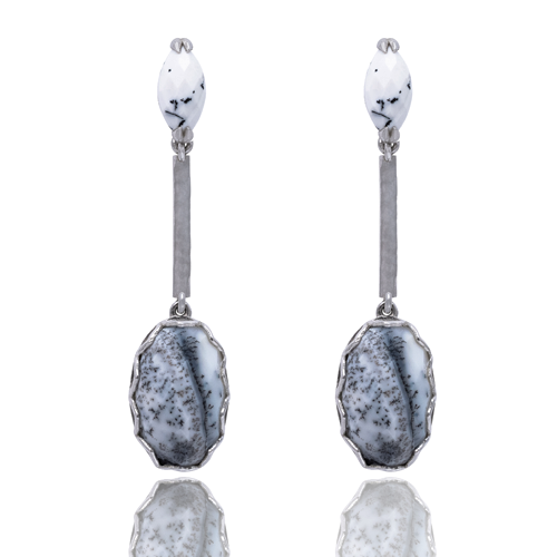 India Affair Dendritic Drop Earrings Silver