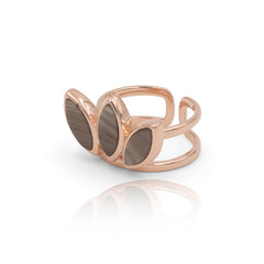 Floral Escape Grey Banded Agate Rose Gold Ring
