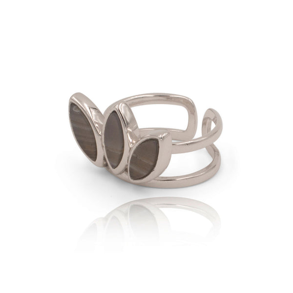 Floral Escape Grey Banded Agate Silver Ring