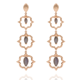 India Affair Labradorite Cocktail Earrings Rose Gold