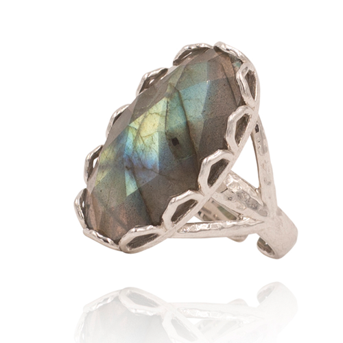 India Affair Labradorite Cocktail Ring Silver