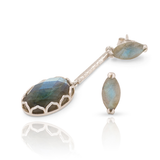 India Affair Labradorite Drop Earrings Silver