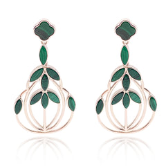 Malachite Floral Escape Cocktail Earrings - Silver