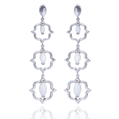 India Affair Moonstone Cocktail Earrings Silver