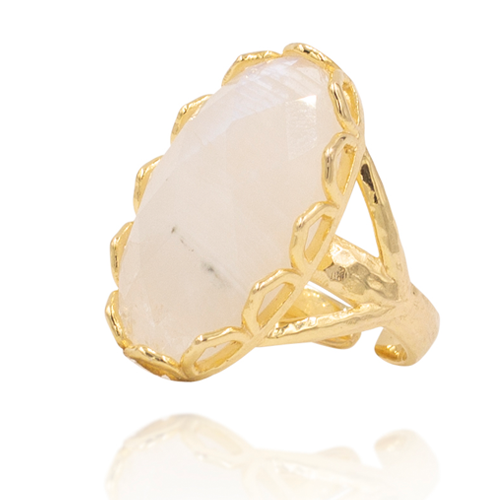 India Affair Moonstone Cocktail Ring Gold