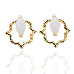 India Affair Moonstone Stud Earrings Gold
