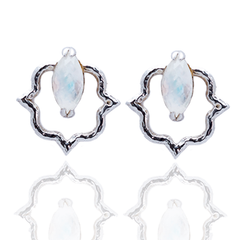 India Affair Moonstone Stud Earrings Silver