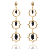 India Affair Obsidian Cocktail Earrings Gold