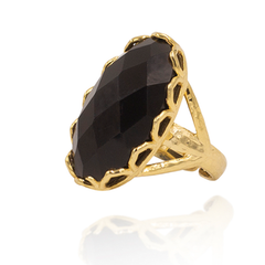 India Affair Obsidian Cocktail Ring Gold